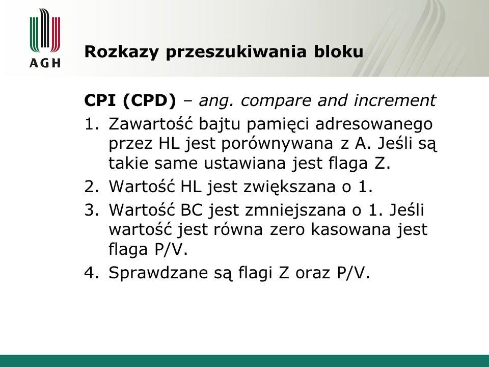 Rozkazy przeszukiwania bloku CPI (CPD) – ang. compare and increment 1.Zawartość bajtu pamięci adresowanego przez HL jest porównywana z A. Jeśli są tak