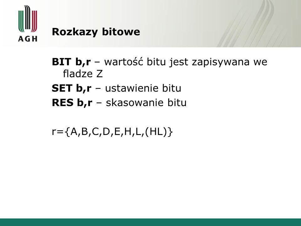 Rozkazy bitowe BIT b,r – wartość bitu jest zapisywana we fladze Z SET b,r – ustawienie bitu RES b,r – skasowanie bitu r={A,B,C,D,E,H,L,(HL)}