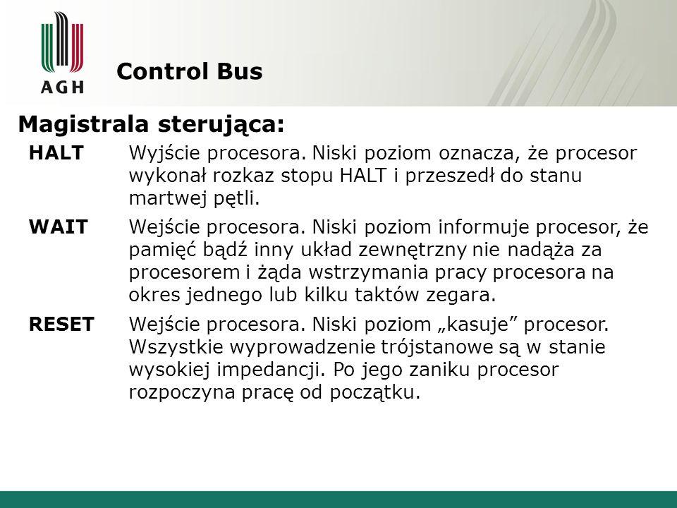 Control Bus Magistrala sterująca: HALTWyjście procesora. Niski poziom oznacza, że procesor wykonał rozkaz stopu HALT i przeszedł do stanu martwej pętl