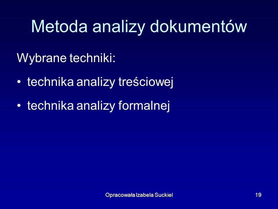 Opracowała Izabela Suckiel19 Metoda analizy dokumentów Wybrane techniki: technika analizy treściowej technika analizy formalnej