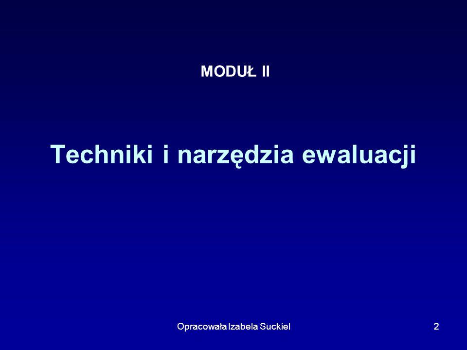 Opracowała Izabela Suckiel2 Techniki i narzędzia ewaluacji MODUŁ II