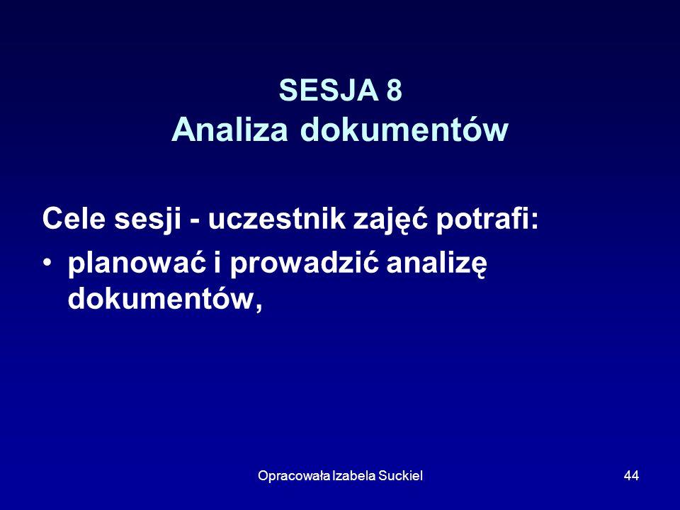 Opracowała Izabela Suckiel44 SESJA 8 Analiza dokumentów Cele sesji - uczestnik zajęć potrafi: planować i prowadzić analizę dokumentów,