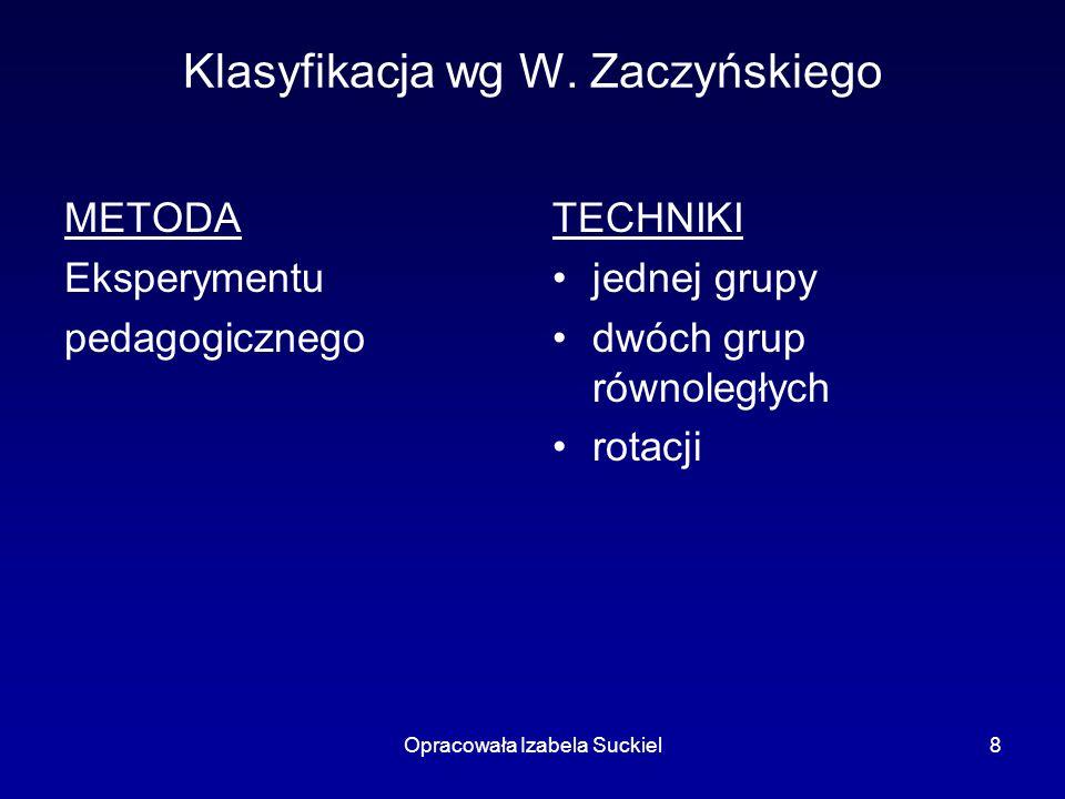 Opracowała Izabela Suckiel8 Klasyfikacja wg W. Zaczyńskiego METODA Eksperymentu pedagogicznego TECHNIKI jednej grupy dwóch grup równoległych rotacji