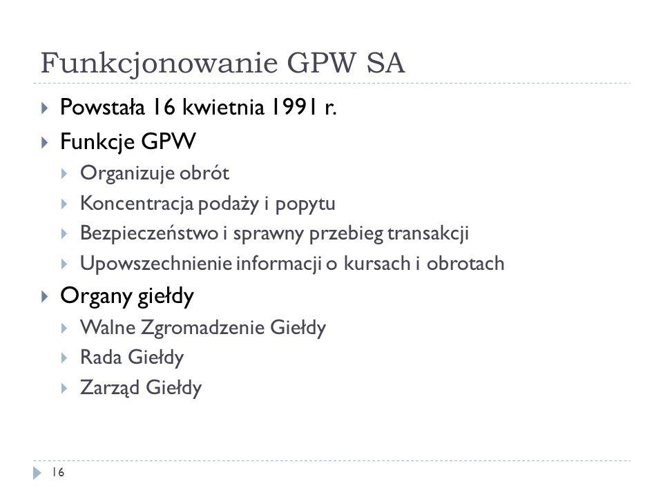 Funkcjonowanie GPW SA 16 Powstała 16 kwietnia 1991 r. Funkcje GPW Organizuje obrót Koncentracja podaży i popytu Bezpieczeństwo i sprawny przebieg tran
