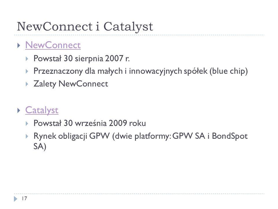 NewConnect i Catalyst 17 NewConnect Powstał 30 sierpnia 2007 r. Przeznaczony dla małych i innowacyjnych spółek (blue chip) Zalety NewConnect Catalyst