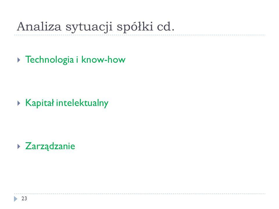 Analiza sytuacji spółki cd. 23 Technologia i know-how Kapitał intelektualny Zarządzanie