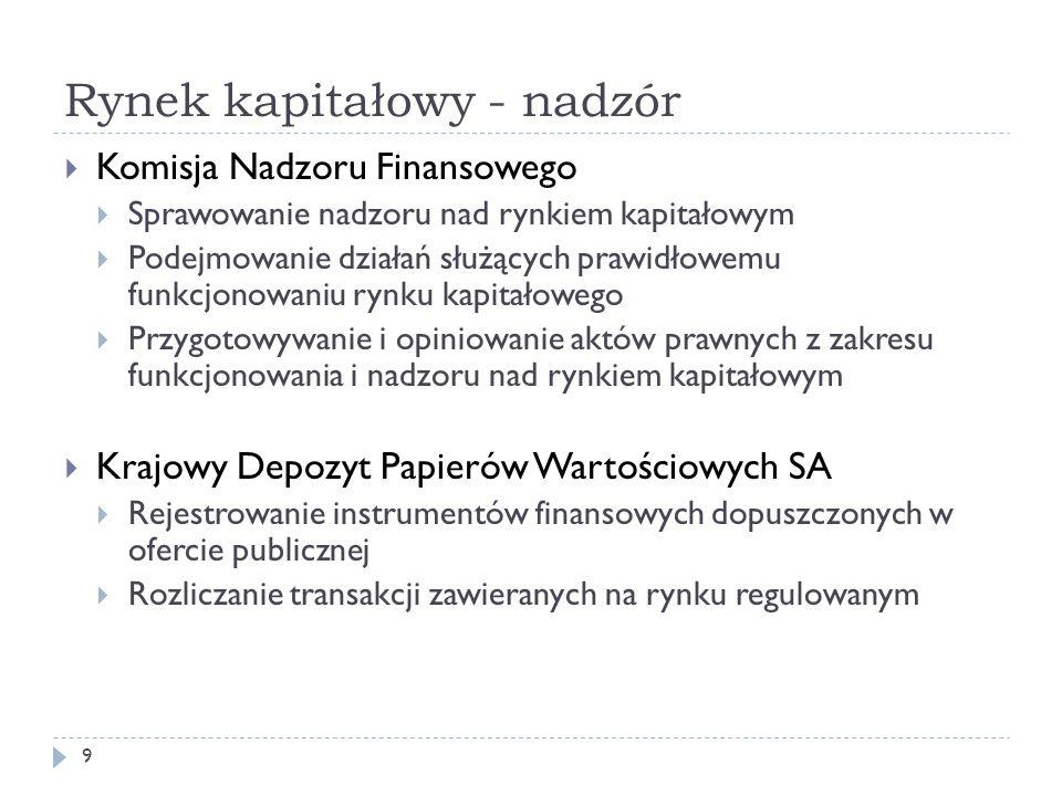 Rynek kapitałowy - nadzór 9 Komisja Nadzoru Finansowego Sprawowanie nadzoru nad rynkiem kapitałowym Podejmowanie działań służących prawidłowemu funkcj