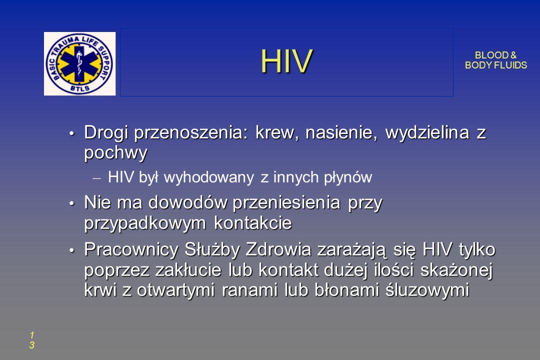 BLOOD & BODY FLUIDS 1313 HIVHIV Drogi przenoszenia: krew, nasienie, wydzielina z pochwy Drogi przenoszenia: krew, nasienie, wydzielina z pochwy – HIV był wyhodowany z innych płynów Nie ma dowodów przeniesienia przy przypadkowym kontakcie Nie ma dowodów przeniesienia przy przypadkowym kontakcie Pracownicy Służby Zdrowia zarażają się HIV tylko poprzez zakłucie lub kontakt dużej ilości skażonej krwi z otwartymi ranami lub błonami śluzowymi Pracownicy Służby Zdrowia zarażają się HIV tylko poprzez zakłucie lub kontakt dużej ilości skażonej krwi z otwartymi ranami lub błonami śluzowymi