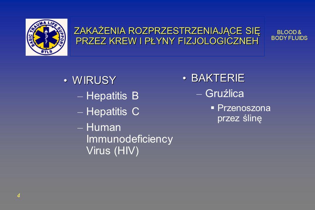BLOOD & BODY FLUIDS 4 ZAKAŻENIA ROZPRZESTRZENIAJĄCE SIĘ PRZEZ KREW I PŁYNY FIZJOLOGICZNEH WIRUSY WIRUSY – Hepatitis B – Hepatitis C – Human Immunodeficiency Virus (HIV) BAKTERIE BAKTERIE – Gruźlica Przenoszona przez ślinę