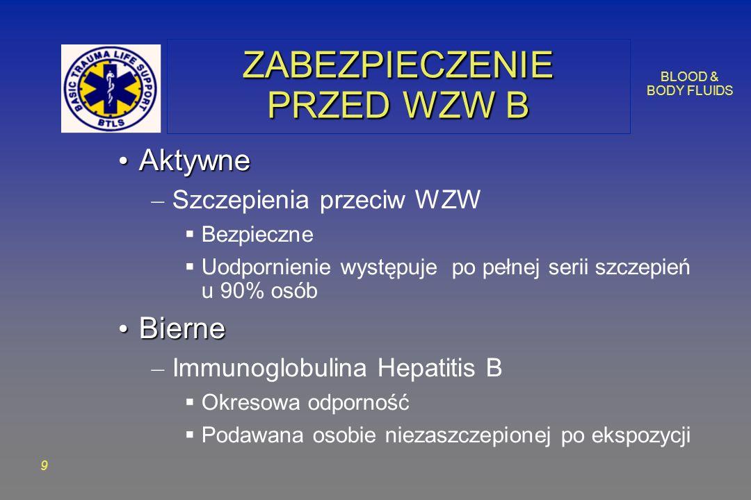 BLOOD & BODY FLUIDS 9 ZABEZPIECZENIE PRZED WZW B Aktywne Aktywne – Szczepienia przeciw WZW Bezpieczne Uodpornienie występuje po pełnej serii szczepień u 90% osób Bierne Bierne – Immunoglobulina Hepatitis B Okresowa odporność Podawana osobie niezaszczepionej po ekspozycji