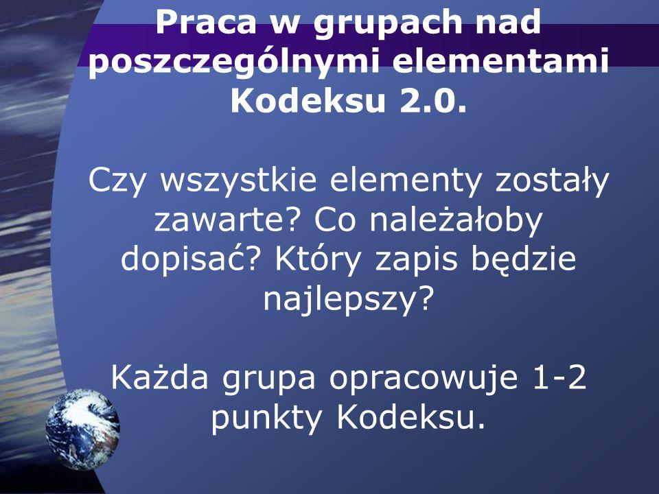 Praca w grupach nad poszczególnymi elementami Kodeksu 2.0.