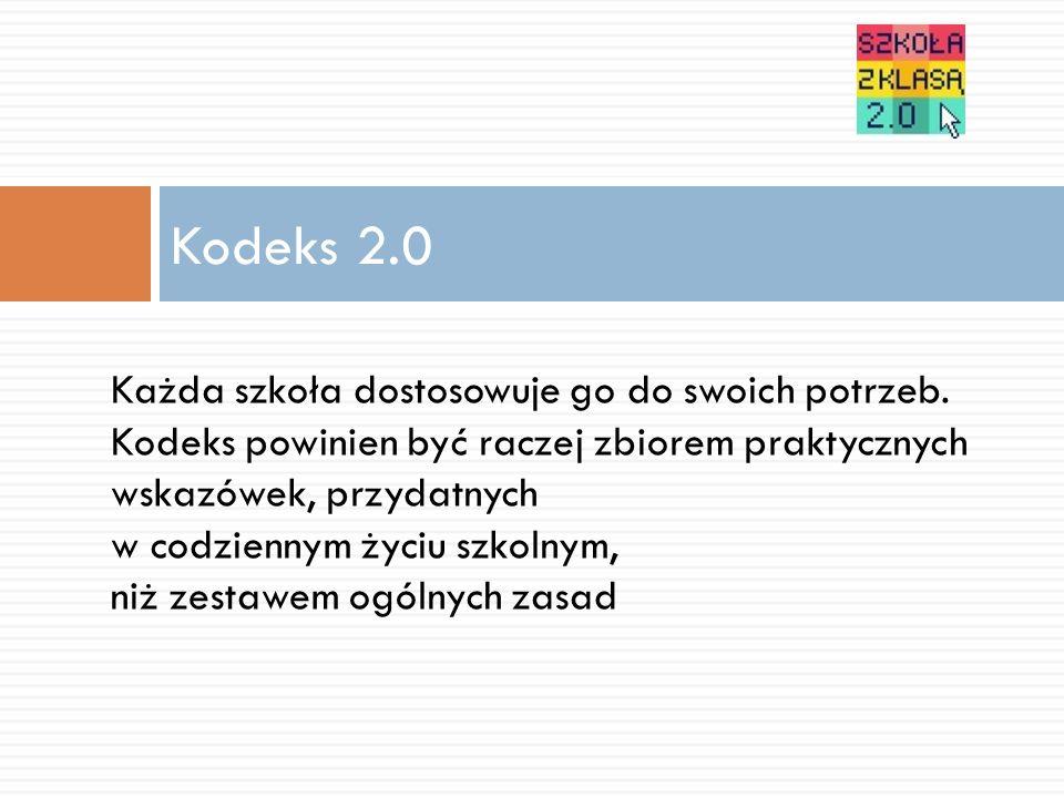 Kodeks 2.0 Każda szkoła dostosowuje go do swoich potrzeb.