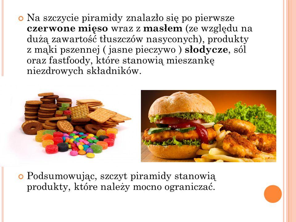 Na szczycie piramidy znalazło się po pierwsze czerwone mięso wraz z masłem (ze względu na dużą zawartość tłuszczów nasyconych), produkty z mąki pszenn