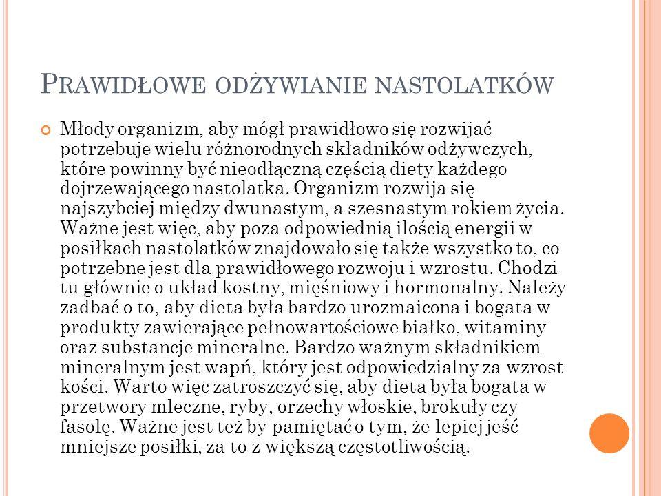 P REZENTACJĘ PRZYGOTOWAŁA W IKTORIA O LEKSY Źródła; http://www.centrumzaburzenodzywiania.pl (slajdy 17-18) http://pl.wikipedia.org (4,11) http://pl.wikipedia.org http://www.apetyt-na-zdrowie.pl http://www.gimnazjum16katowice.cba.pl (2,3,16,19) http://www.gimnazjum16katowice.cba.pl Encyklopedia polskiego ucznia Własne materiały (6-16) Google grafika (5, w wielu slajdach)
