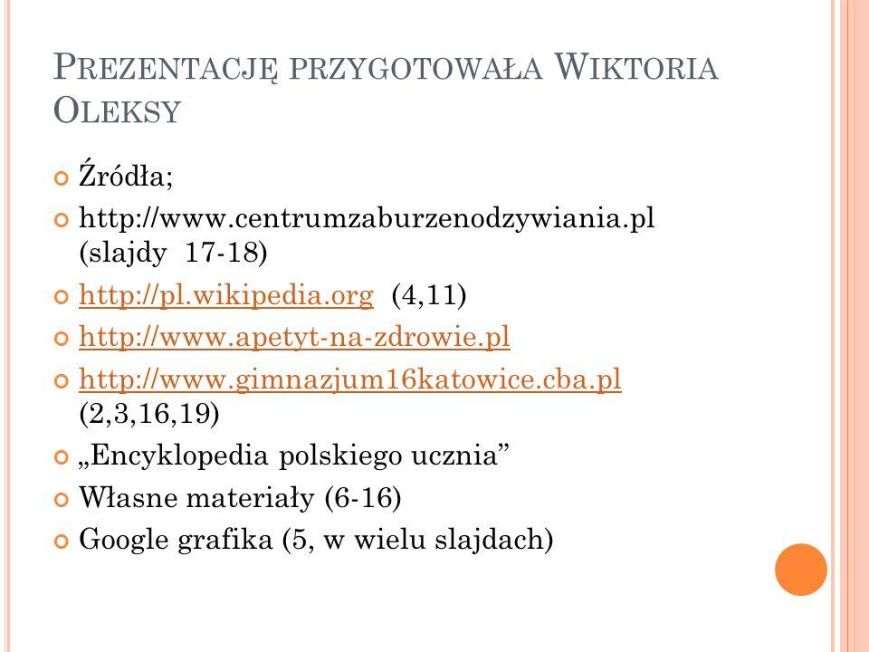 P REZENTACJĘ PRZYGOTOWAŁA W IKTORIA O LEKSY Źródła; http://www.centrumzaburzenodzywiania.pl (slajdy 17-18) http://pl.wikipedia.org (4,11) http://pl.wi