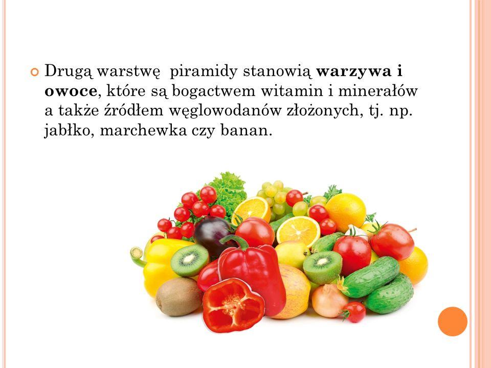Drugą warstwę piramidy stanowią warzywa i owoce, które są bogactwem witamin i minerałów a także źródłem węglowodanów złożonych, tj. np. jabłko, marche