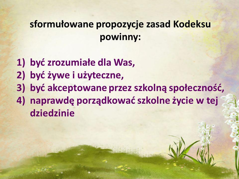 sformułowane propozycje zasad Kodeksu powinny: 1)być zrozumiałe dla Was, 2)być żywe i użyteczne, 3)być akceptowane przez szkolną społeczność, 4)napraw