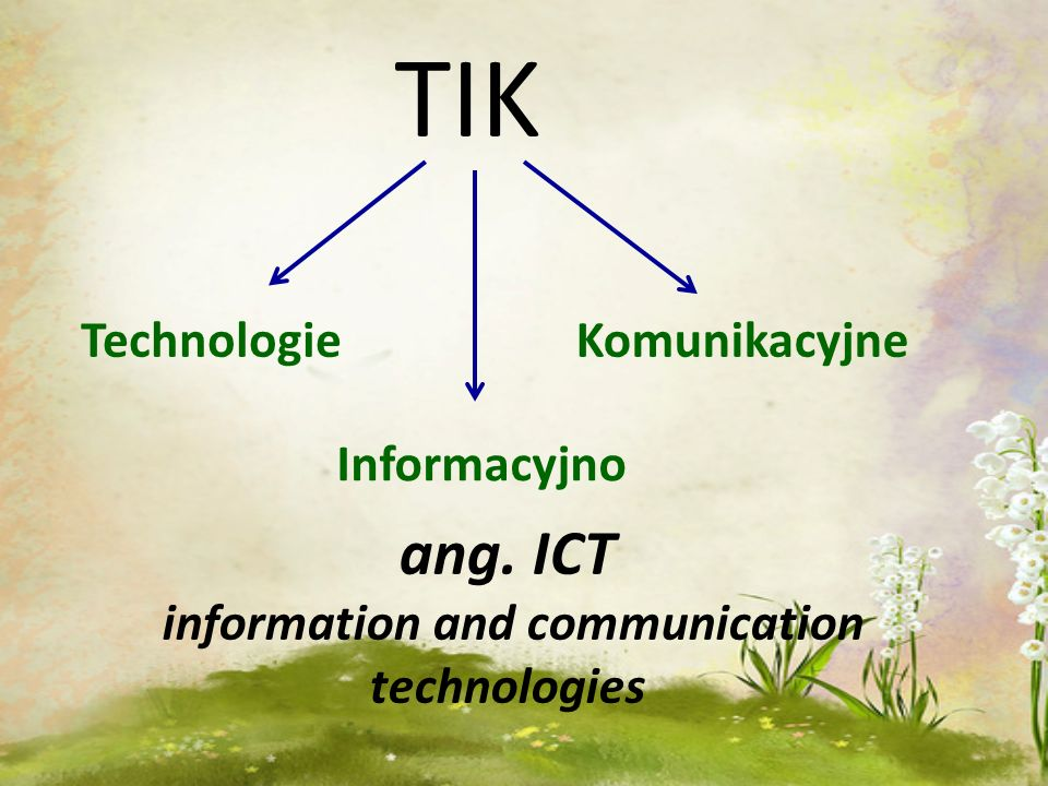 TIK Technologie Informacyjno Komunikacyjne ang. ICT information and communication technologies