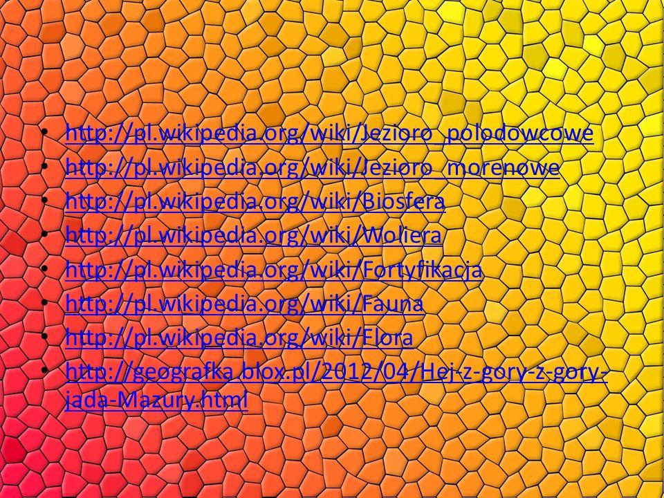 http://pl.wikipedia.org/wiki/Jezioro_polodowcowe http://pl.wikipedia.org/wiki/Jezioro_morenowe http://pl.wikipedia.org/wiki/Biosfera http://pl.wikiped