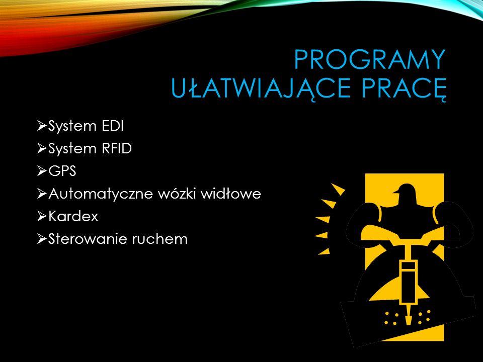 PROGRAMY UŁATWIAJĄCE PRACĘ System EDI System RFID GPS Automatyczne wózki widłowe Kardex Sterowanie ruchem