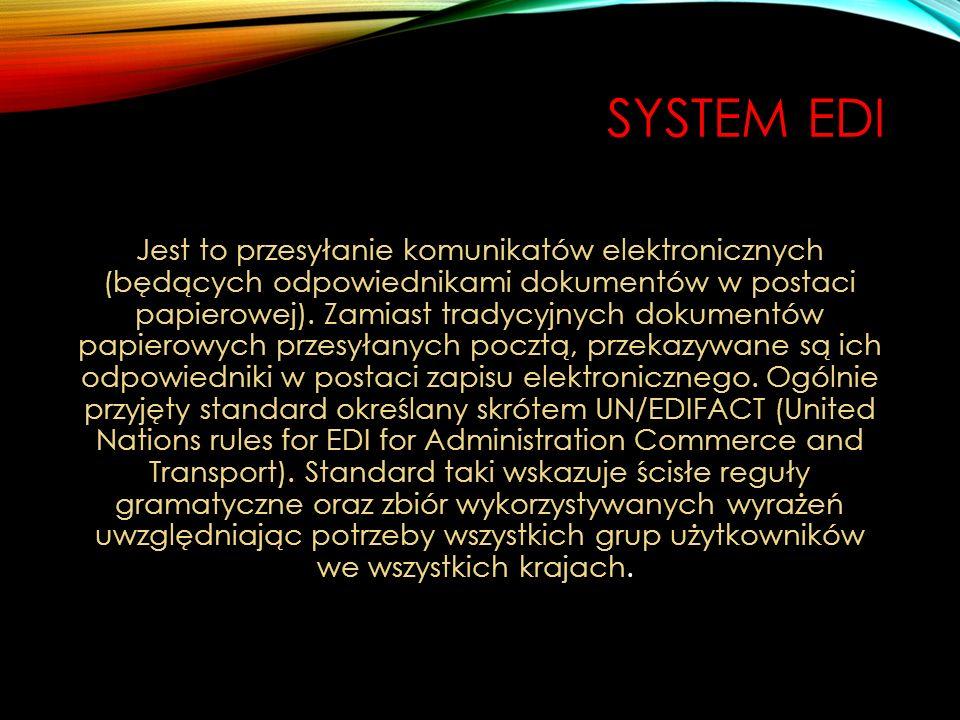 SYSTEM EDI Jest to przesyłanie komunikatów elektronicznych (będących odpowiednikami dokumentów w postaci papierowej). Zamiast tradycyjnych dokumentów