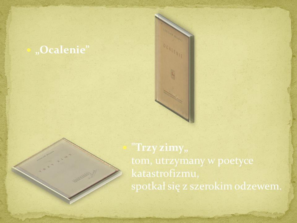 Poemat o czasie zastygłym. Uzyskał on uznanie i został wyróżniony nagrodą Związku Zawodowego Literatów Polskich. Światło dzienne