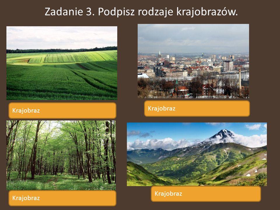 Zadanie 3. Podpisz rodzaje krajobrazów. Krajobraz