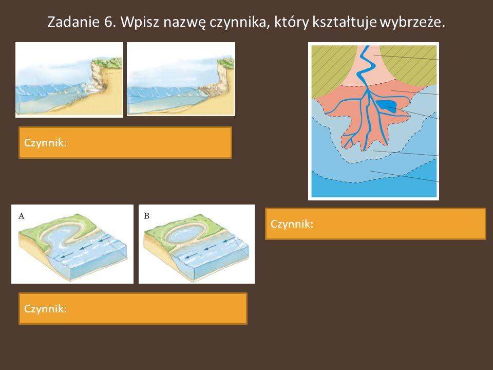 Zadanie 6. Wpisz nazwę czynnika, który kształtuje wybrzeże. Czynnik: