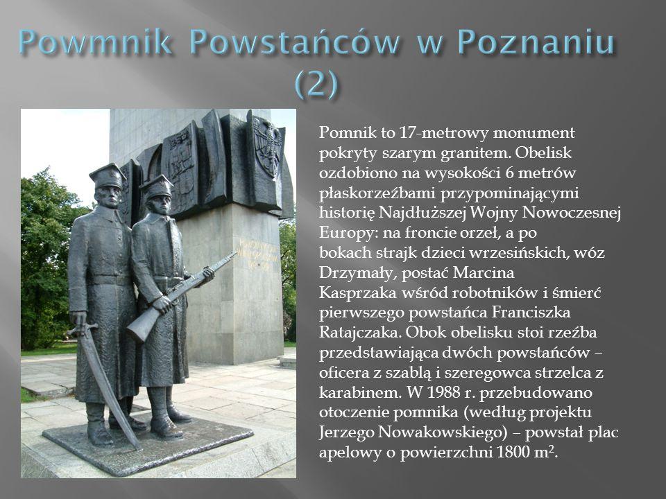 Pomnik to 17-metrowy monument pokryty szarym granitem.