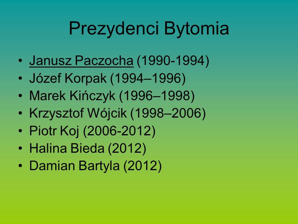 Prezydenci Bytomia Janusz Paczocha (1990-1994) Józef Korpak (1994–1996) Marek Kińczyk (1996–1998) Krzysztof Wójcik (1998–2006) Piotr Koj (2006-2012) Halina Bieda (2012) Damian Bartyla (2012)