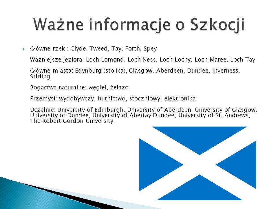 Główne rzeki: Clyde, Tweed, Tay, Forth, Spey Ważniejsze jeziora: Loch Lomond, Loch Ness, Loch Lochy, Loch Maree, Loch Tay Główne miasta: Edynburg (stolica), Glasgow, Aberdeen, Dundee, Inverness, Stirling Bogactwa naturalne: węgiel, żelazo Przemysł: wydobywczy, hutnictwo, stoczniowy, elektronika Uczelnie: University of Edinburgh, University of Aberdeen, University of Glasgow, University of Dundee, University of Abertay Dundee, University of St.