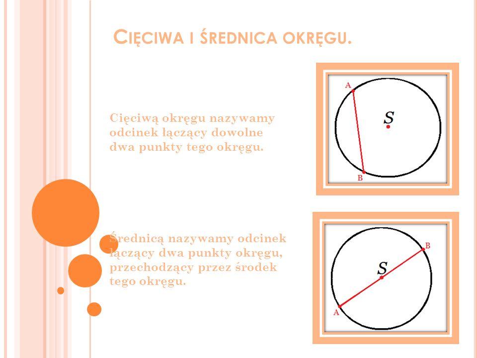 C IĘCIWA I ŚREDNICA OKRĘGU. Cięciwą okręgu nazywamy odcinek łączący dowolne dwa punkty tego okręgu. Średnicą nazywamy odcinek łączący dwa punkty okręg
