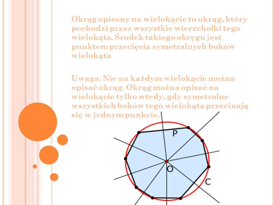 Okrąg opisany na wielokącie to okrąg, który pochodzi przez wszystkie wierzchołki tego wielokąta. Środek takiego okręgu jest punktem przecięcia symetra