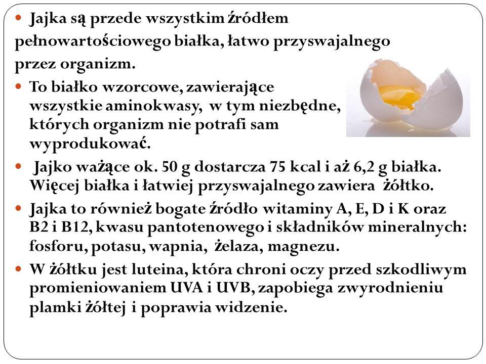Jajka s ą przede wszystkim ź ródłem pełnowarto ś ciowego białka, łatwo przyswajalnego przez organizm. To białko wzorcowe, zawieraj ą ce wszystkie amin