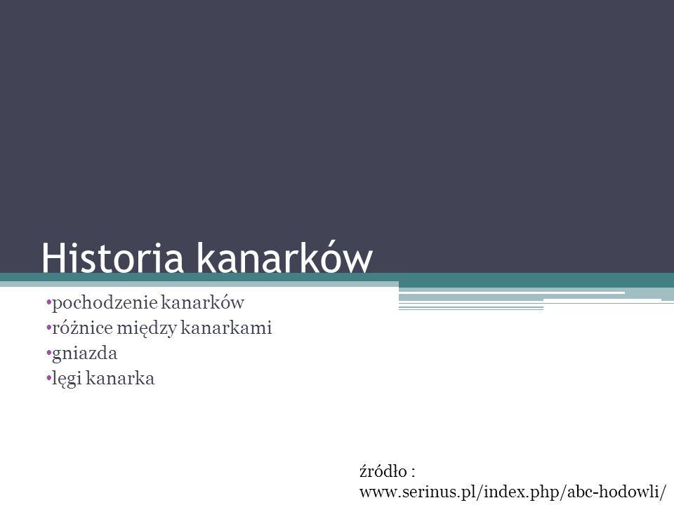 Historia kanarków pochodzenie kanarków różnice między kanarkami gniazda lęgi kanarka źródło : www.serinus.pl/index.php/abc-hodowli/