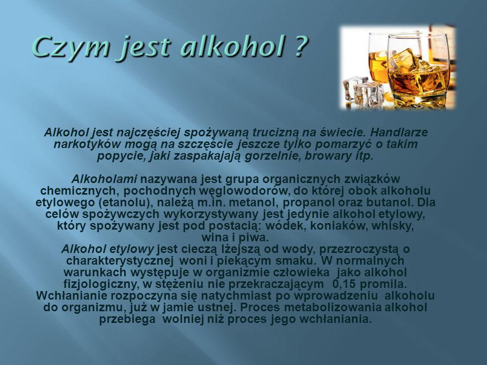 Alkohol sprawia, ż e czujemy si ę szcz ęś liwsi, ł atwiej nawi ą zujemy kontakty z lud ź mi, mamy mniejsze zahamowania podczas wyra ż ania swoich my ś li.
