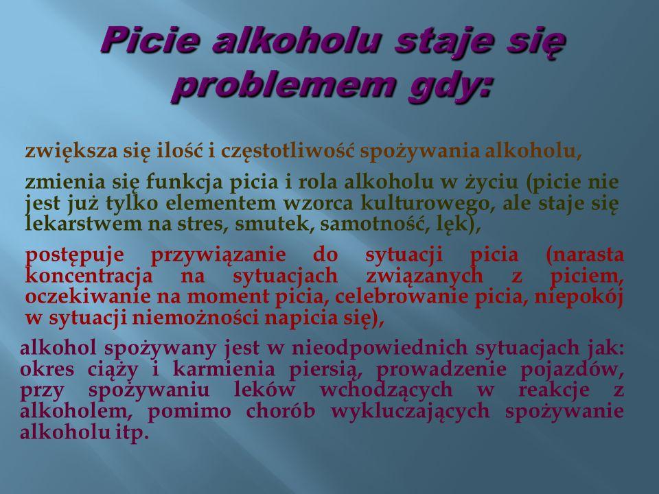 nasilają się objawy upojenia alkoholowego Picie alkoholu staje się problemem gdy: pojawia się zaniepokojenie i uwagi krytyczne wyrażane przez osoby bliskie oraz sygnały sugerujące zmniejszenie ilości picia używanie alkoholu staje się sposobem usuwania skutków picia z poprzedniego dnia (kac) rosną negatywne skutki picia alkoholu, a mimo to picie jest nadal kontynuowane pojawiają się trudności z tym co dzieje się działo poprzedniego dnia w sytuacjach związanych z piciem.