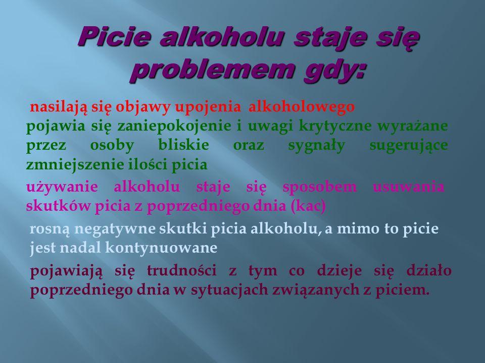 nasilają się objawy upojenia alkoholowego Picie alkoholu staje się problemem gdy: pojawia się zaniepokojenie i uwagi krytyczne wyrażane przez osoby bl