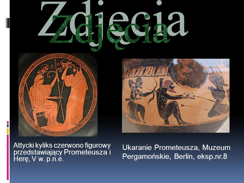 Ukaranie Prometeusza, Muzeum Pergamońskie, Berlin, eksp.nr.8 Attycki kyliks czerwono figurowy przedstawiający Prometeusza i Herę, V w. p.n.e.