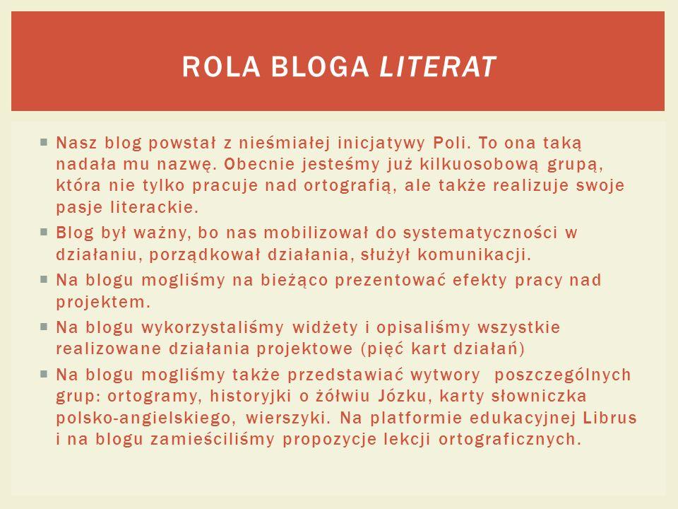Nasz blog powstał z nieśmiałej inicjatywy Poli.To ona taką nadała mu nazwę.