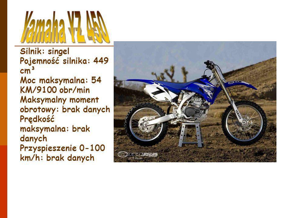 Silnik: singel Pojemność silnika: 449 cm³ Moc maksymalna: 54 KM/9100 obr/min Maksymalny moment obrotowy: brak danych Prędkość maksymalna: brak danych