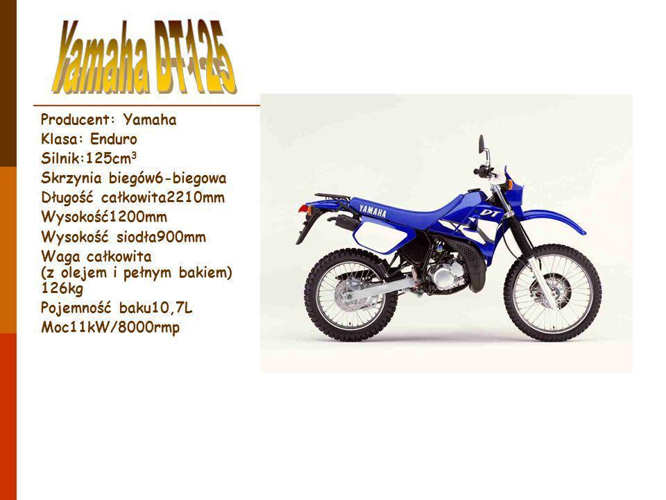 Producent: Yamaha Klasa: Enduro Silnik:125cm 3 Skrzynia biegów6-biegowa Długość całkowita2210mm Wysokość1200mm Wysokość siodła900mm Waga całkowita (z