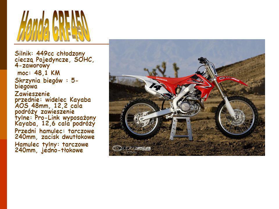 Silnik: 449cc chłodzony cieczą Pojedyncze, SOHC, 4-zaworowy moc: 48,1 KM Skrzynia biegów : 5- biegowa Zawieszenie przednie: widelec Kayaba AOS 48mm, 1