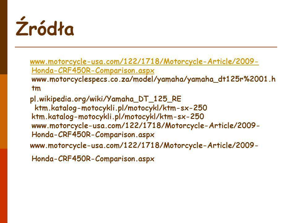 Źródła www.motorcycle-usa.com/122/1718/Motorcycle-Article/2009- Honda-CRF450R-Comparison.aspx www.motorcyclespecs.co.za/model/yamaha/yamaha_dt125r%200