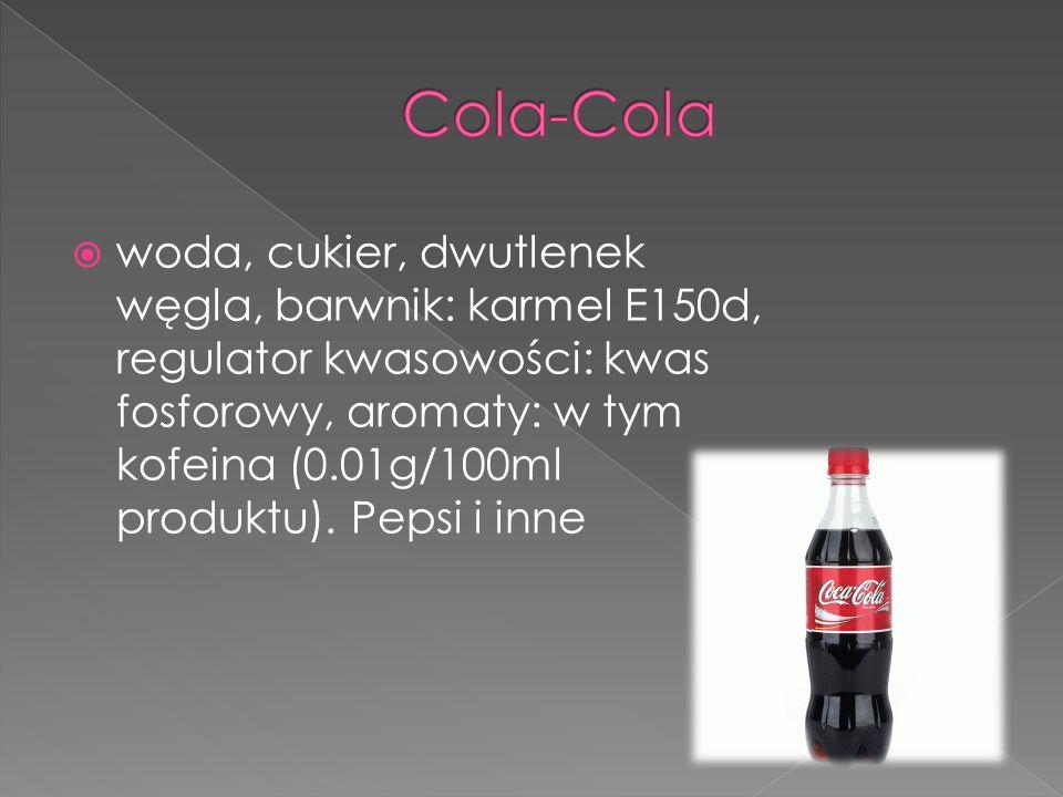 woda, cukier, dwutlenek węgla, barwnik: karmel E150d, regulator kwasowości: kwas fosforowy, aromaty: w tym kofeina (0.01g/100ml produktu). Pepsi i inn