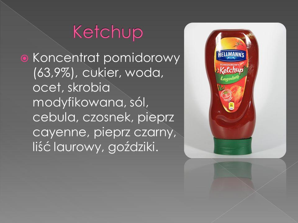 Koncentrat pomidorowy (63,9%), cukier, woda, ocet, skrobia modyfikowana, sól, cebula, czosnek, pieprz cayenne, pieprz czarny, liść laurowy, goździki.