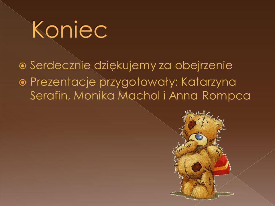 Serdecznie dziękujemy za obejrzenie Prezentacje przygotowały: Katarzyna Serafin, Monika Machol i Anna Rompca