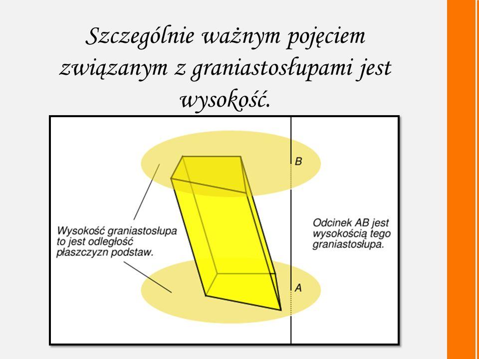Szczególnie ważnym pojęciem związanym z graniastosłupami jest wysokość.