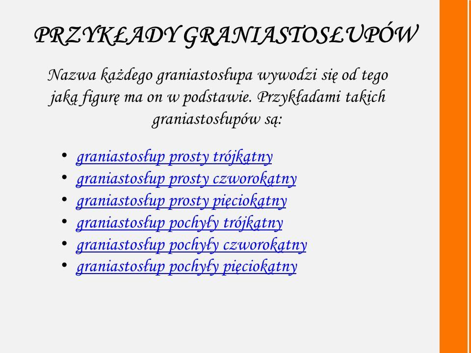 PRZYKŁADY GRANIASTOSŁUPÓW graniastosłup prosty trójkątny graniastosłup prosty czworokątny graniastosłup prosty pięciokątny graniastosłup pochyły trójkątny graniastosłup pochyły czworokątny graniastosłup pochyły pięciokątny Nazwa każdego graniastosłupa wywodzi się od tego jaką figurę ma on w podstawie.