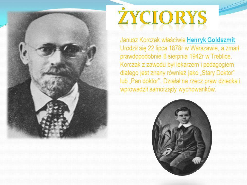 Janusz Korczak właściwie Henryk Goldszmit Urodził się 22 lipca 1878r w Warszawie, a zmarł prawdopodobnie 6 sierpnia 1942r w Treblice. Korczak z zawodu